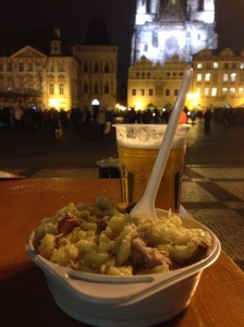 Not a bad view for some pasta looking potato with cheese looking cabbage and pork